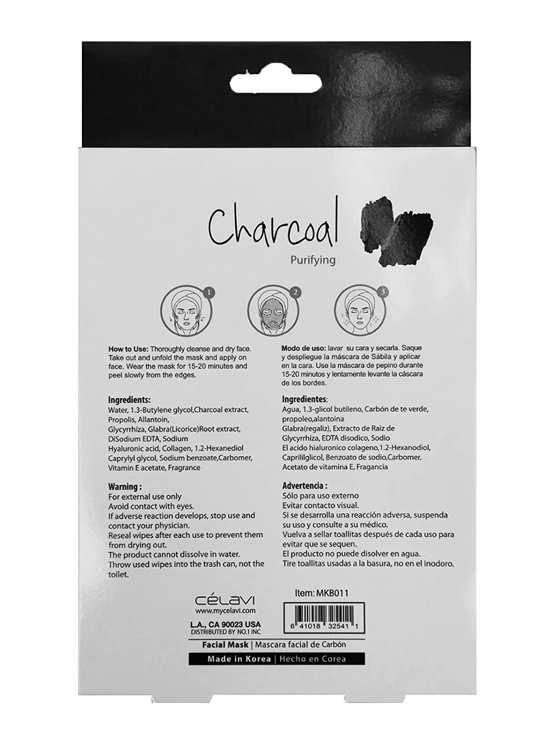 Amazon.com : Celavi Essence Facial Mask Paper Sheet Korea Skin Care Moisturizing 5 Pack Box (Charcoal : Beauty