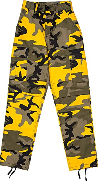 Amazon.com: Pantalones militares de camuflaje amarillo BDU ...