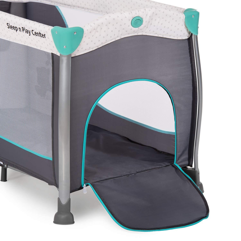 Turquoise Hauck Sleep N Play Center 3 Lit Parapluie 7 Pi/èces Naissance /à 15 kg Pliable Stable avec 2 Niveaux Table /à Langer Sortie Lat/érale Poche Accessoires Roues et Sac de Transport