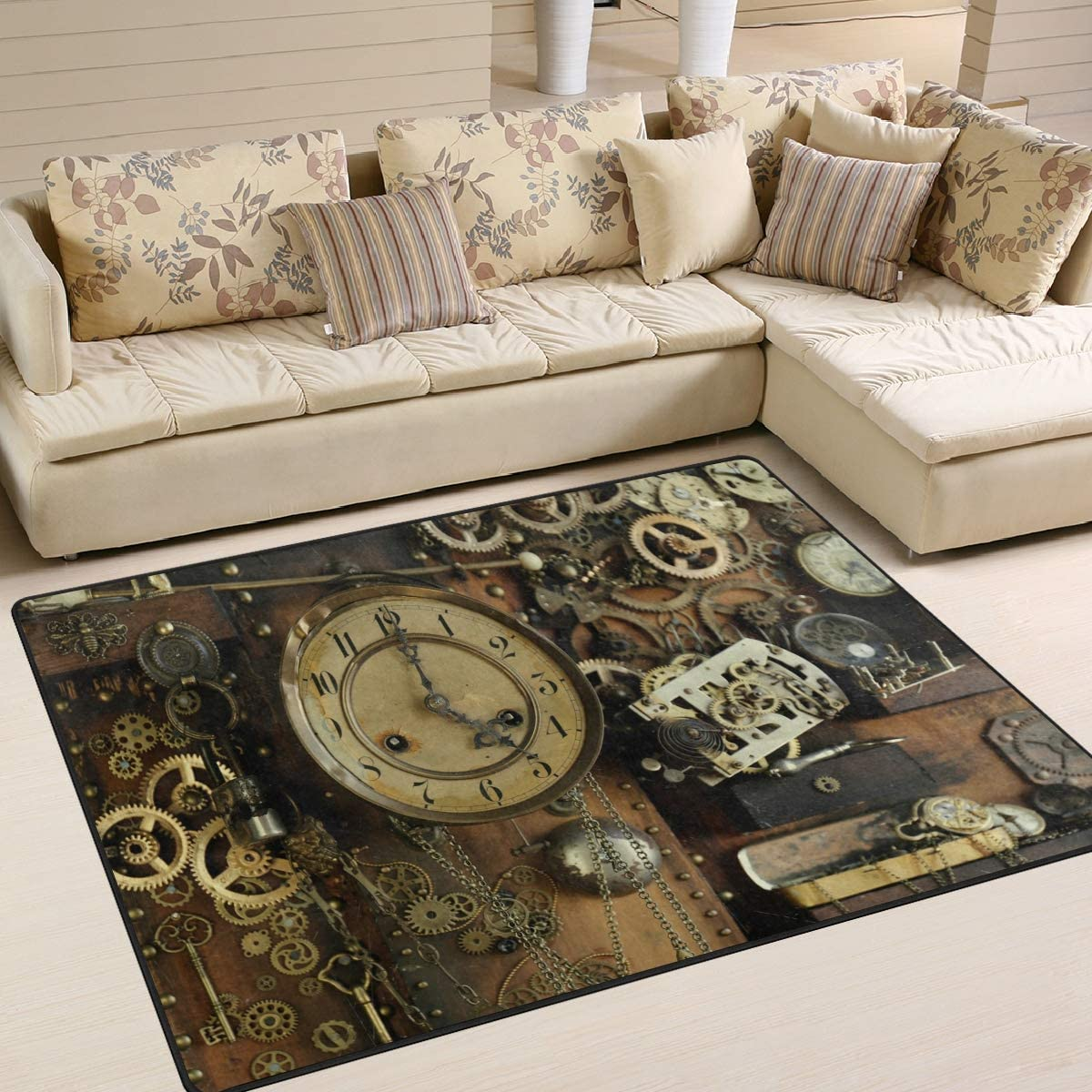 ALAZA Vintage Steampunk Ancient Gears Area Rug Rugs for Living Room Bedroom 5 3 x4
