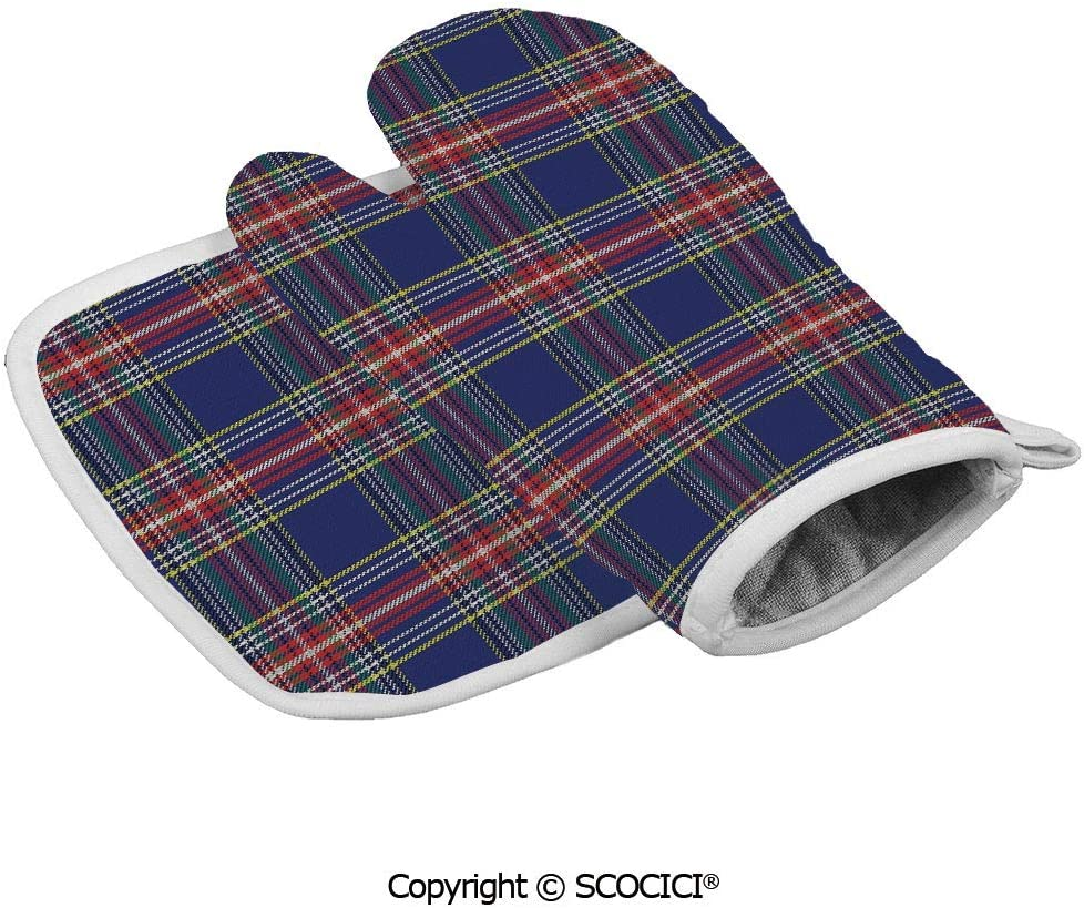 SCOCICI Oven Mitts,Professional Heat Resistant Ancestral Scottish Tartan Squares Lines Geometry Inspired Abstract Non-Slip Kitchen Oven Glove for Cooking,Baking,Barbecue Potholders