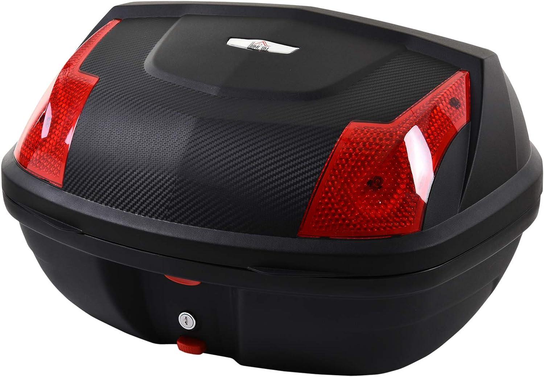 HOMCOM Maletero de Scooter Baúl de Moto para 1 Casco Integral y 1 Medio Capacidad de 48 L Cerradura con 2 Llaves Accesorios 58x44,5x33,5 cm Negro