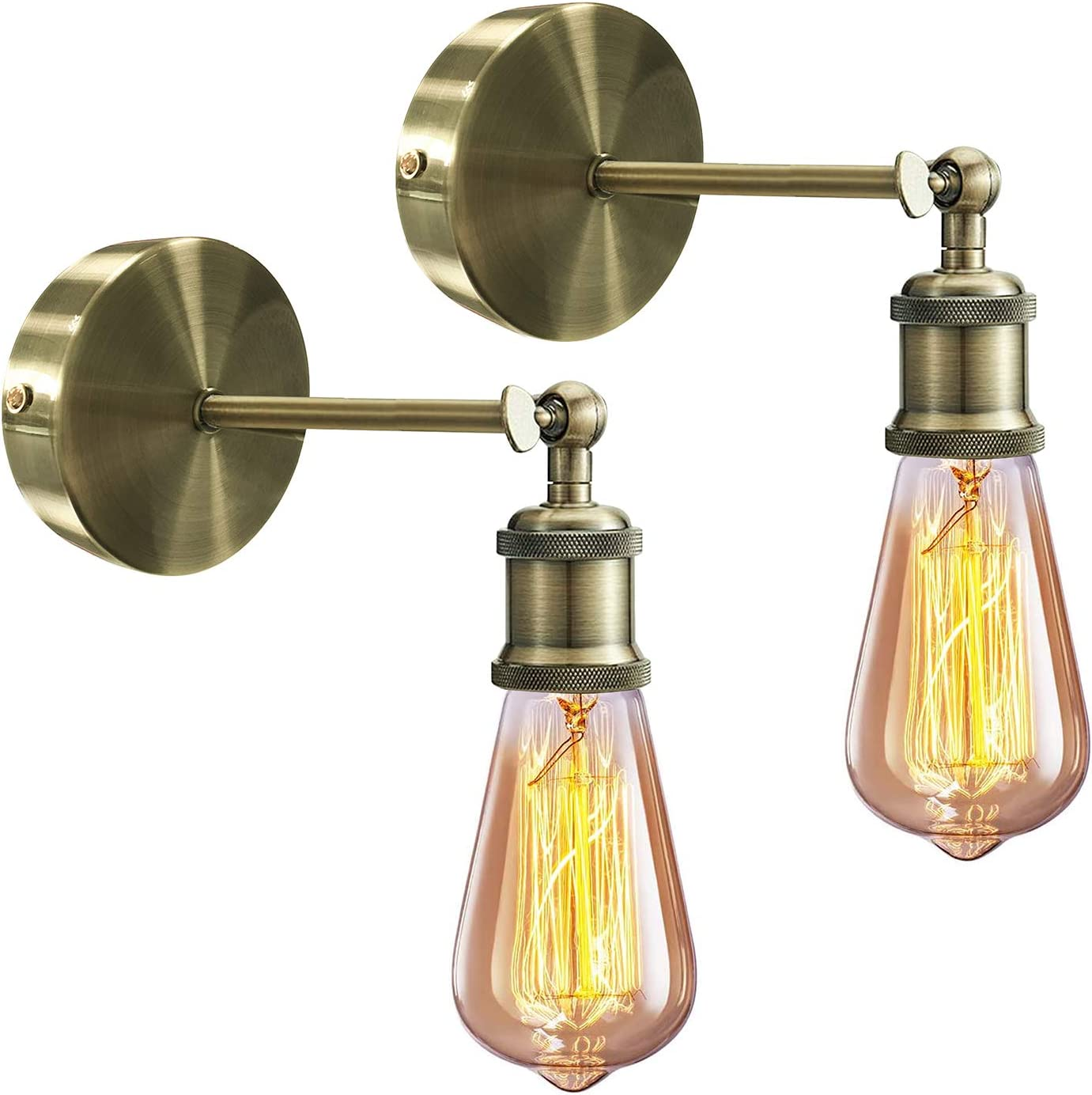 Vintage Wall Sconce 2 Pack E26 E27 Industrial Rustic Wall Sconce Light With Adjustable Angle Arm Swing Wall Lamp Wall Lighting Fixture For Bedroom Kitchen Hotel Cafe Bulb Not Included Brass