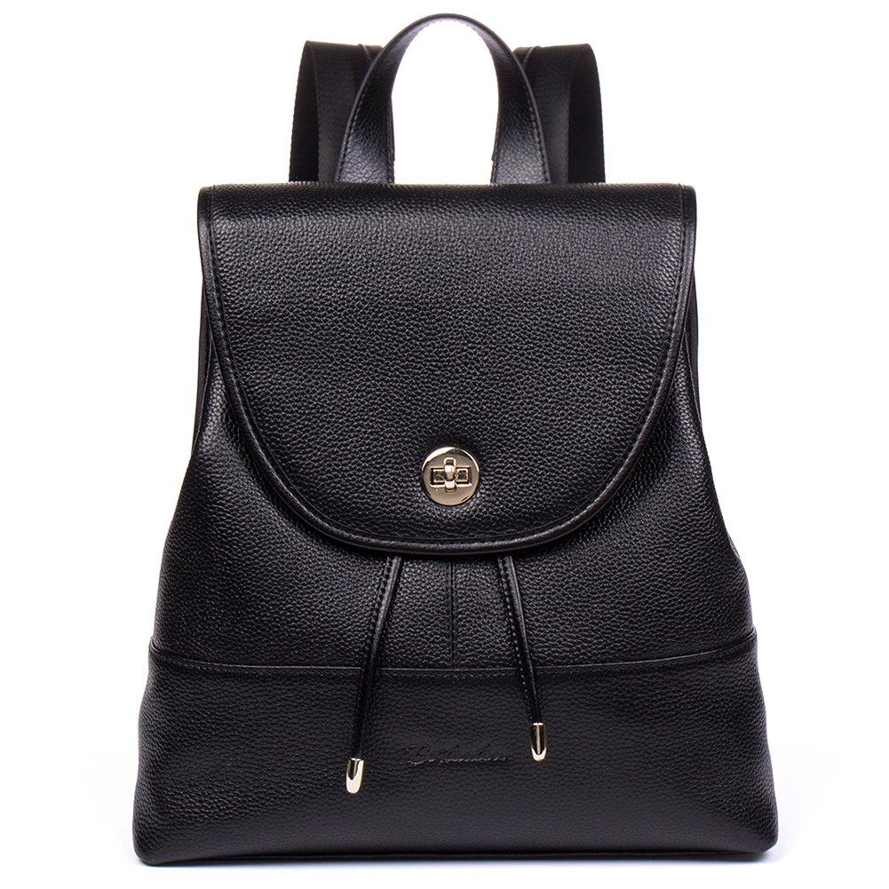 BOSTANTEN Women Leather Backpack Purse Shoulder School Fashion College Bag Black