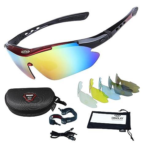 Occhiali da Sole Sportivi,Sincewe Anti-UV 400 Protezione Ciclismo Occhiali da Sole con 5 Lenti Intercambiabili,Uomo e Donna Antivento Aviatore Specchio per MTB,Bici,Moto,Trekking Casual
