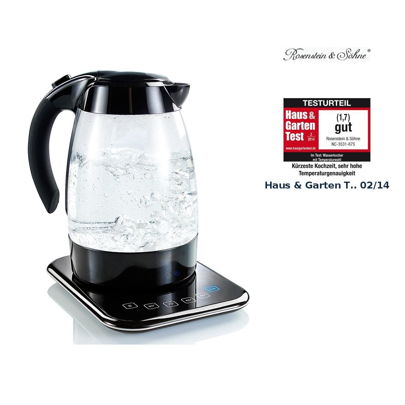 Rosenstein Sohne Wasserkocher Thermostat Glas Wasserkocher Wsk 400 Tmp Mit Temperaturwahl Wasserkocher Mit Temperatur