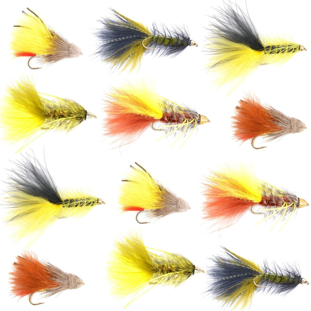 The Fly Fishing Place Trout and Bass Streamer Fly Assortment - Rubber Legged Buggers and Marabou Muddler Minnow Streamer Flies Collection - 1 Dozen Fly Fishing Flies - Size 4