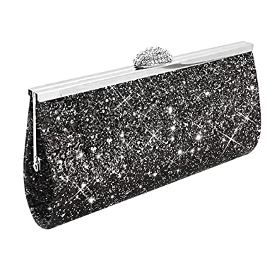 f6bd40d65a5d UNYU Fashion Womens Glitter Clutch Bag Sparkly Silver Gold Black Evening  Bridal Prom Party Handbag Purse (Black)(Size  One Size)  Amazon.co.uk   Clothing