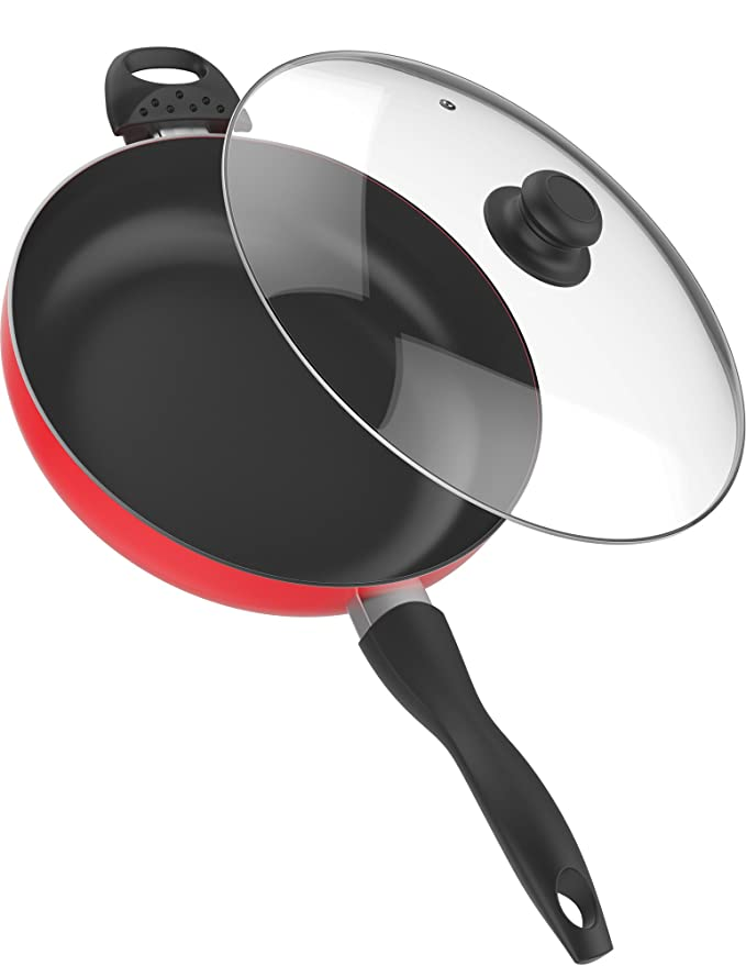 Vremi 12 Inch Nonstick Saute Pan Covered with Tempered Glass Lid - Big 5 Quart Capacity for Stir Fry Frying or as Saucepan - Non Stick Saute and Frying Pan - Deep Large and Ovenproof - Red
