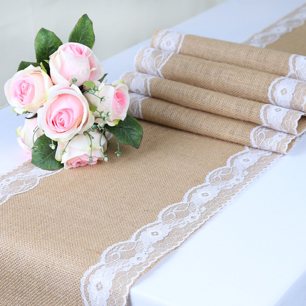 TRLYC Pack of Five Wedding 12 by 108-Inch Burlap White Lace Table Runner Hessian Table Cloth for Country Outdoor Wedding Party Decor by TRLYC (Image #4)