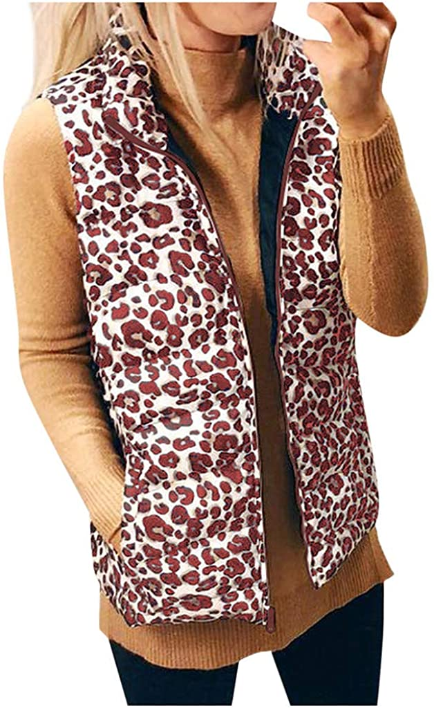 Outeck Leopard Vest for Women Stand Up Collar Down Vest Coat Quilted Padded Zipper Pocket Sleeveless Jacket