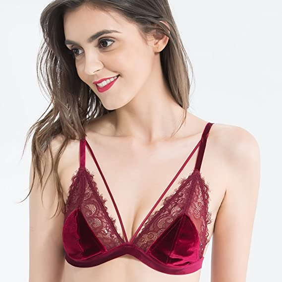 813c13b0eb9 Wink Gal Women s Velvet Triangle Strappy Lace Bralette at Amazon Women s  Clothing store