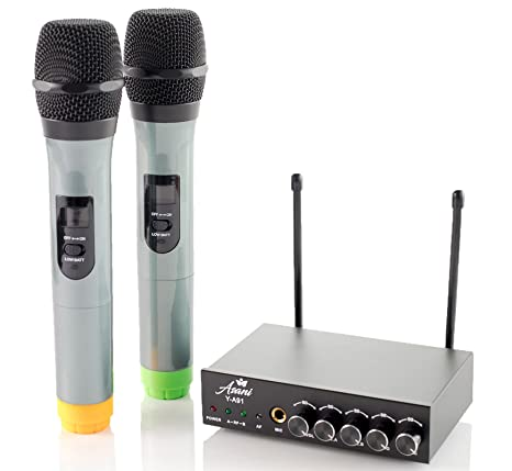Uhf Dual Channel Wireless Handheld Microphone System With 2 Cordless Mics Receiver And 3