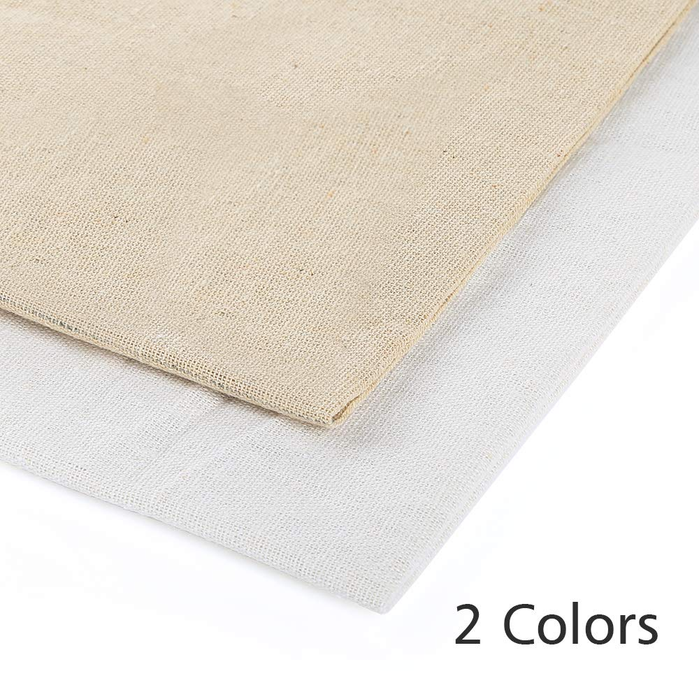62 by 19 Inch Caydo 2 Pieces 2 Colors Linen Needlework Fabric for Garment Craft