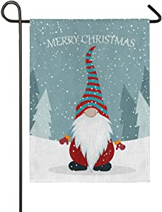 N\ A Garden Flag 28x40 Double Sided Christmas Gnome Welcome Tree Decorative House Yard Flags for Outside Outdoor Welcome Home Decor Banner Large Size 28 x 40 inches