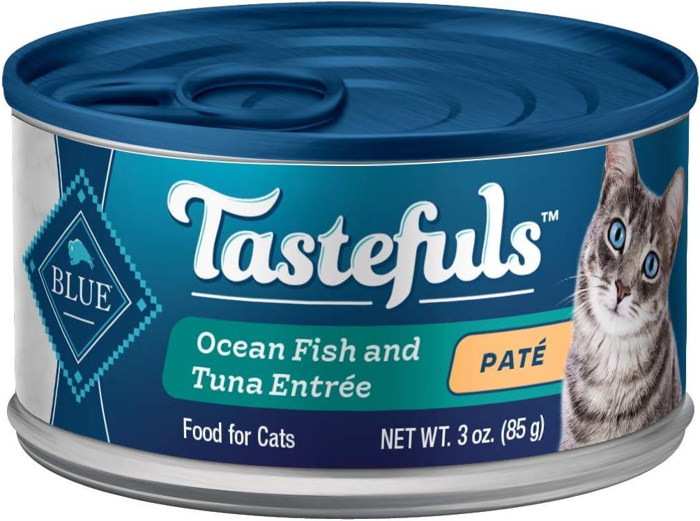 Blue Buffalo Tastefuls Natural Pate Wet Cat Food, Ocean Fish & Tuna Entrée 3-oz cans (Pack of 24)