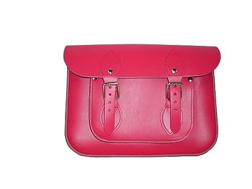 Three Little Imps Bolso tradicional tipo cartera de cuero rosa (11 pulgadas) - Hecho a mano en Inglaterra: Amazon.es: Zapatos y complementos