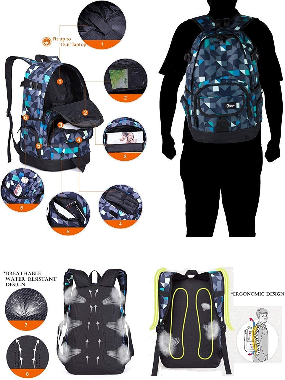 Men /& Women Lightweight with Laptop Compartment-Dark Red Ricky-H Red//Black Graffiti School Backpack for Girls /& Boys Students
