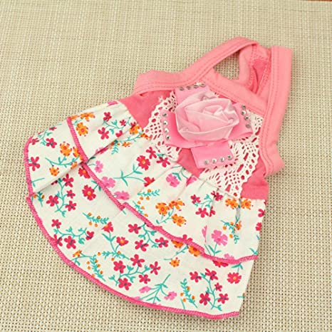L Pet supplies Small Fresh Rural Wind Floral Girl Strap Dress ...
