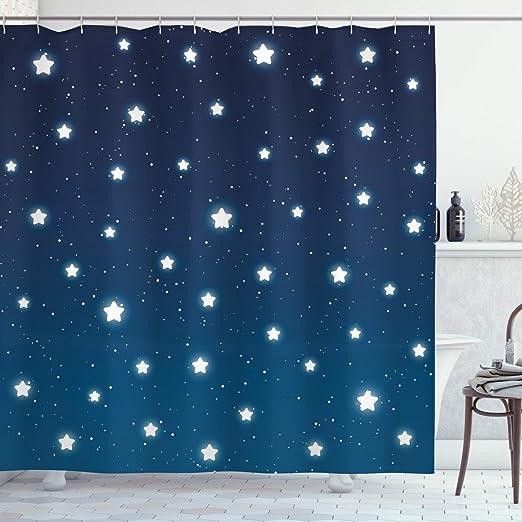 Fabric Shower Curtain navy blue stars   shower curtain