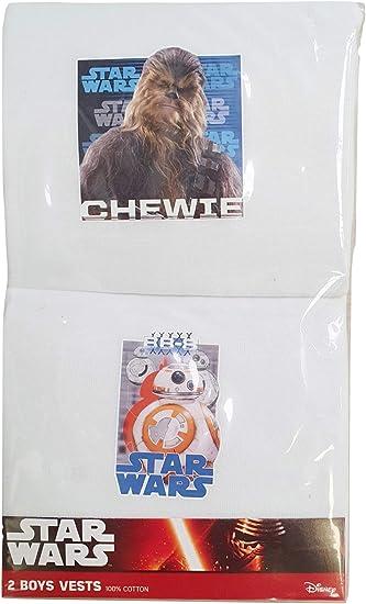 Boys Star Wars Sleeveless Vests Disney BB8 Chewbacca Underwear 100/% Cotton 2 Pack