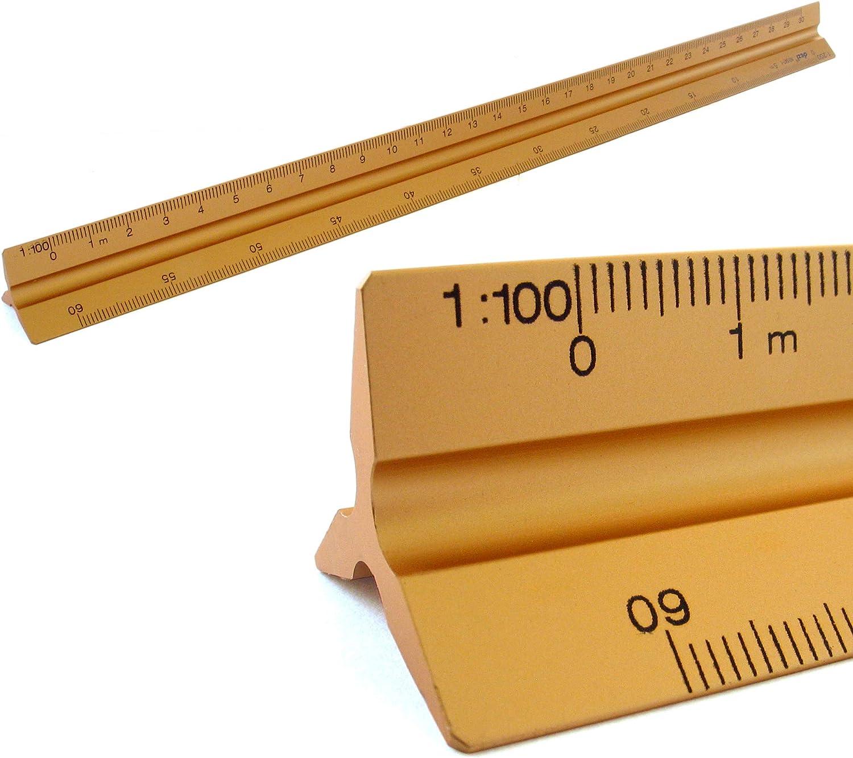 Escala triangular de aluminio con escala triangular de 30 cm escala 1:20:25:50:75:100:150 color negro 1:100:200:250:300:400:500-3