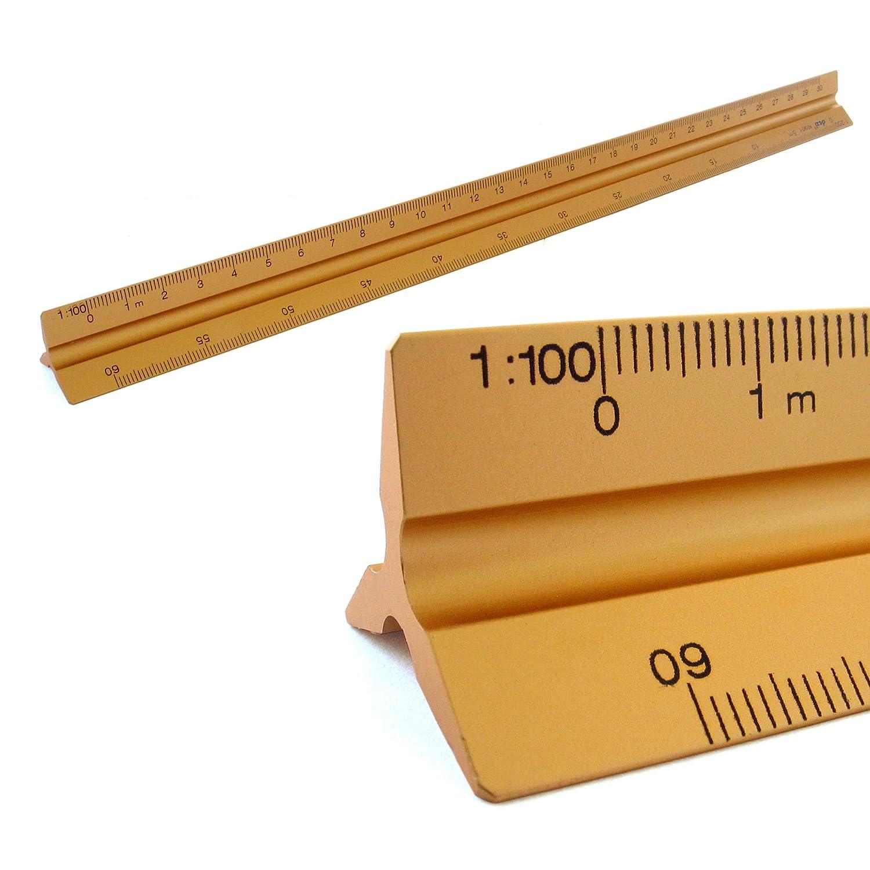 Righelli Scala alluminio scala triangolare triangolare 1: 100, 1: 200, 1: 250, 1: 300, 1: 400, 1: 500, lunghezza 30cm righello triangolare Kultloggen