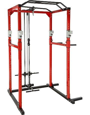 TecTake Multiestación de Fitness para Entrenamiento | 2 puntales de Seguridad macizos | Poleas para Barras