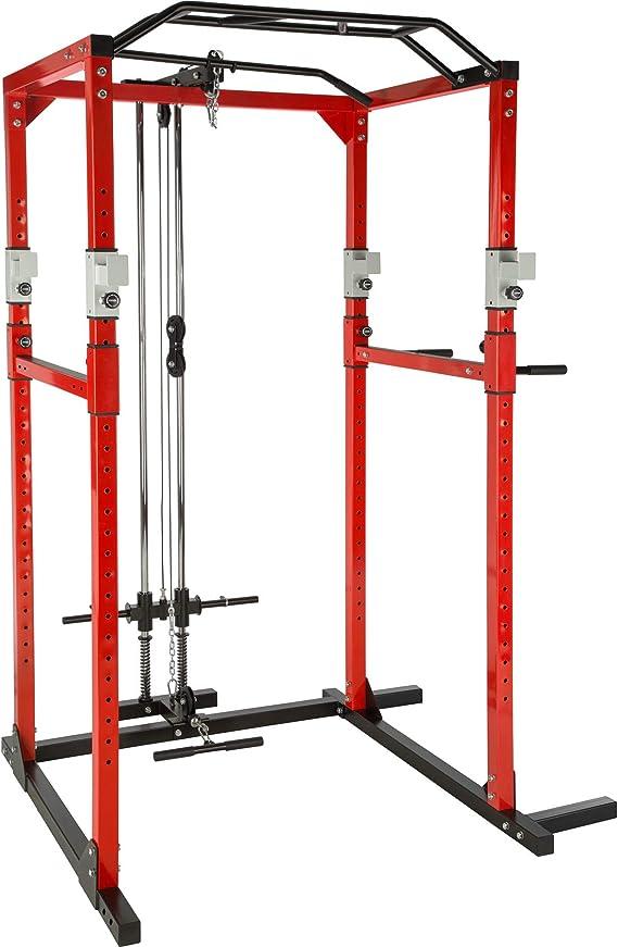 TecTake Multiestación de Fitness para Entrenamiento   2 puntales de Seguridad macizos   Barras de dips acoplables Modelos
