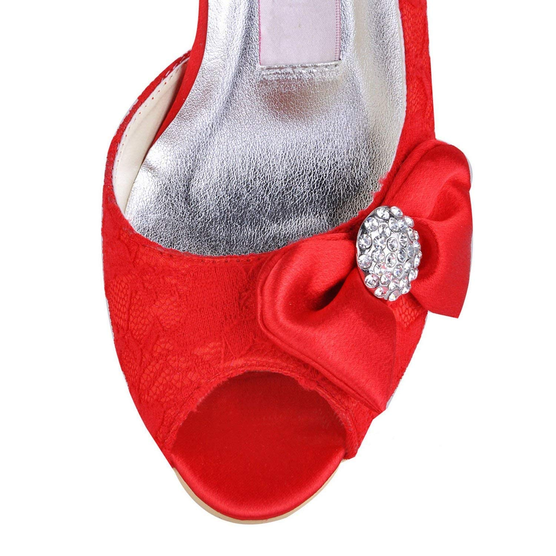 Qiusa Frauen MZ570 Peep Toe High Heel Bowknot Spitze Braut Braut Braut Hochzeit Schuhe Sandalen (Farbe   rot-7.5cm Heel Größe   7 UK) ed5201