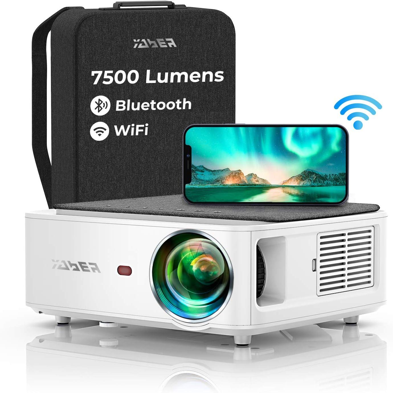 Proyector WiFi Bluetooth 1080P, YABER V6 7500 Proyector WiFi Full HD 1920x1080P Nativo, Ajuste Digital de 4 Puntos, Proyector Portátil Soporta 4K y Zoom -50%, Proyector LED para Cine en Casa y PPT