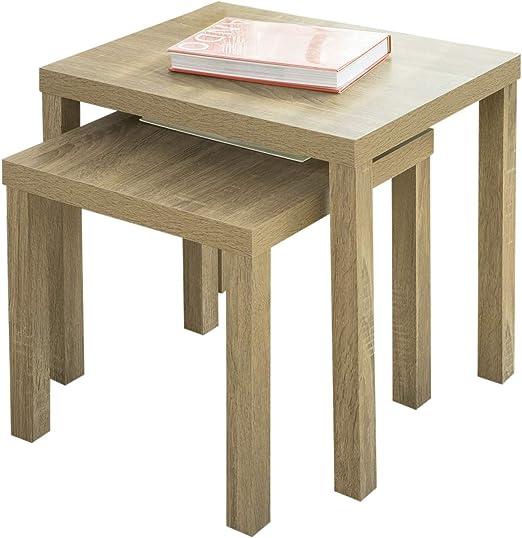 SoBuy FBT83-N Set de 2 mesas auxiliares Mesa Nido de salón ...