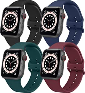 [Pack 4] YILED Replacement Bands Compatible with Apple Watch Bands 44mm 42mm for Women Men, Soft Bands Compatible with iWatch SE & Series 6 5 4 3 2 1, Black+Navy Blue+Dark Green+Wine Red, 42mm/44mm