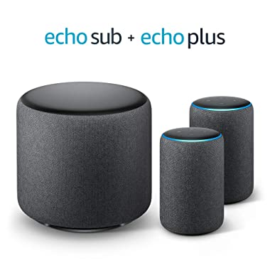 Echo Sub Bundle with 2 Echo Plus (2nd Gen) Devices - Charcoal and Philips Hue bulb