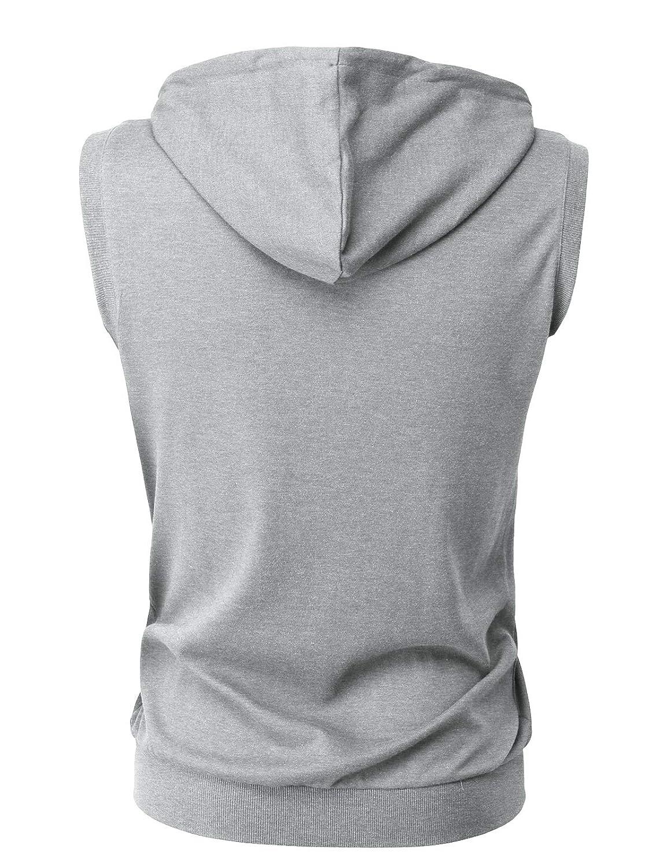H2H Mens Fashion Lightweight Sleeveless Basic Hoodies Zip-up with Pocket