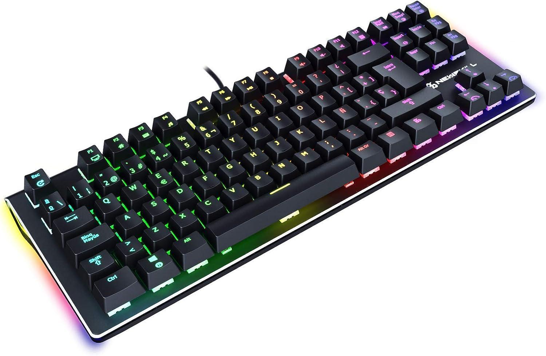 Newskill Serike TKL Switch Blue - Teclado Mecánico Gaming TenKeyLess (Teclas con grabación Macro, 20 Modos de iluminación RGB, Sin Pad Numérico) - ...