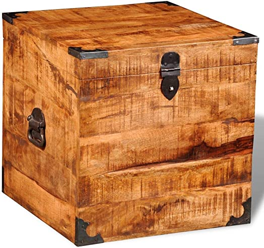 vidaXL Rough Mango Wood Blanket Toy Storage Chests Boxes Trunks Home Decor