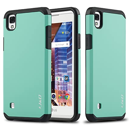 reputable site be4b6 30a0c J&D Case Compatible for LG Tribute HD Case, Heavy Duty [Dual Layer] Hybrid  Shock Proof Protective Rugged Bumper Case for LG Tribute HD Case - Mint