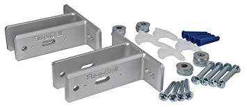 toilet partition wall attachment repair kit two upgrade brackets w hardware silver - Bathroom Stall Hardware
