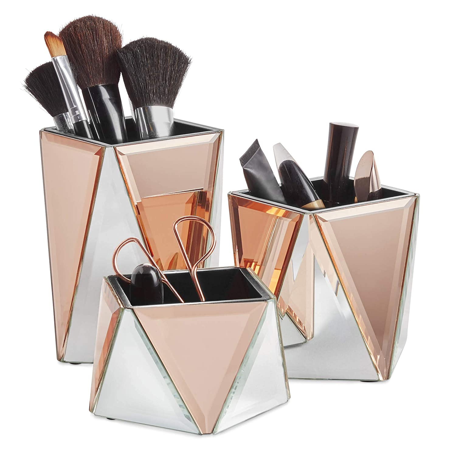Beautify Rose Gold Mirrored Storage Pots for Makeup Cosmetics, Brushes, Jewelry and Accessories – Geometric Silver and Rose Gold, Set of 3