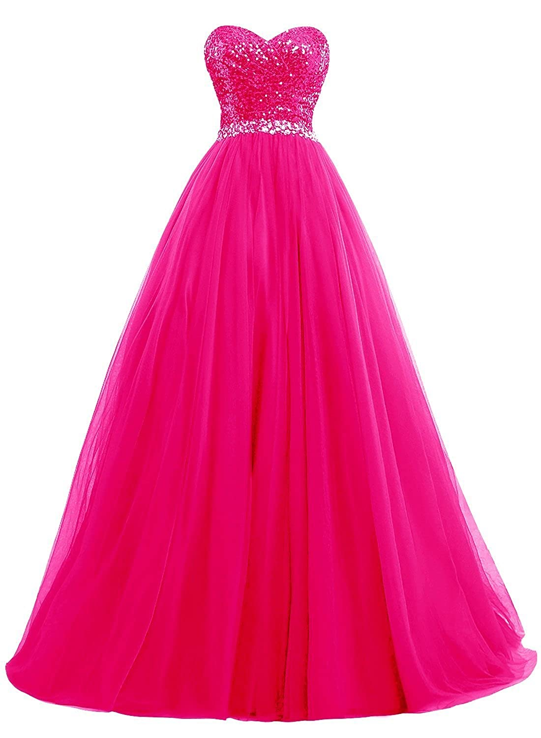 Hot Pink Fanciest Women's Sweet 16 Tulle Sequin Ball Gown Prom Dresses for Quinceanera
