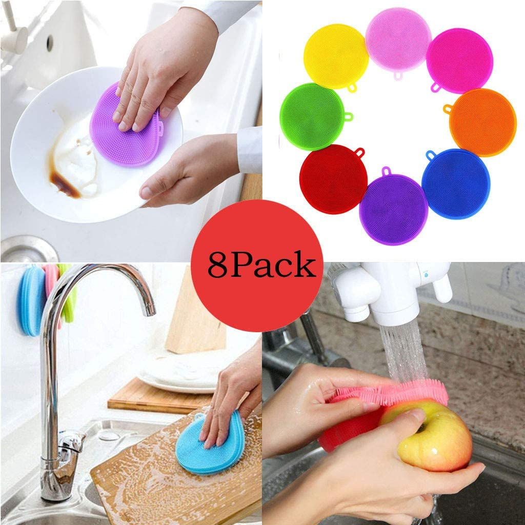 8pcs Silicone Dish Washing Sponge Scrubber Kitchen Cleaning Antibacterial Tool