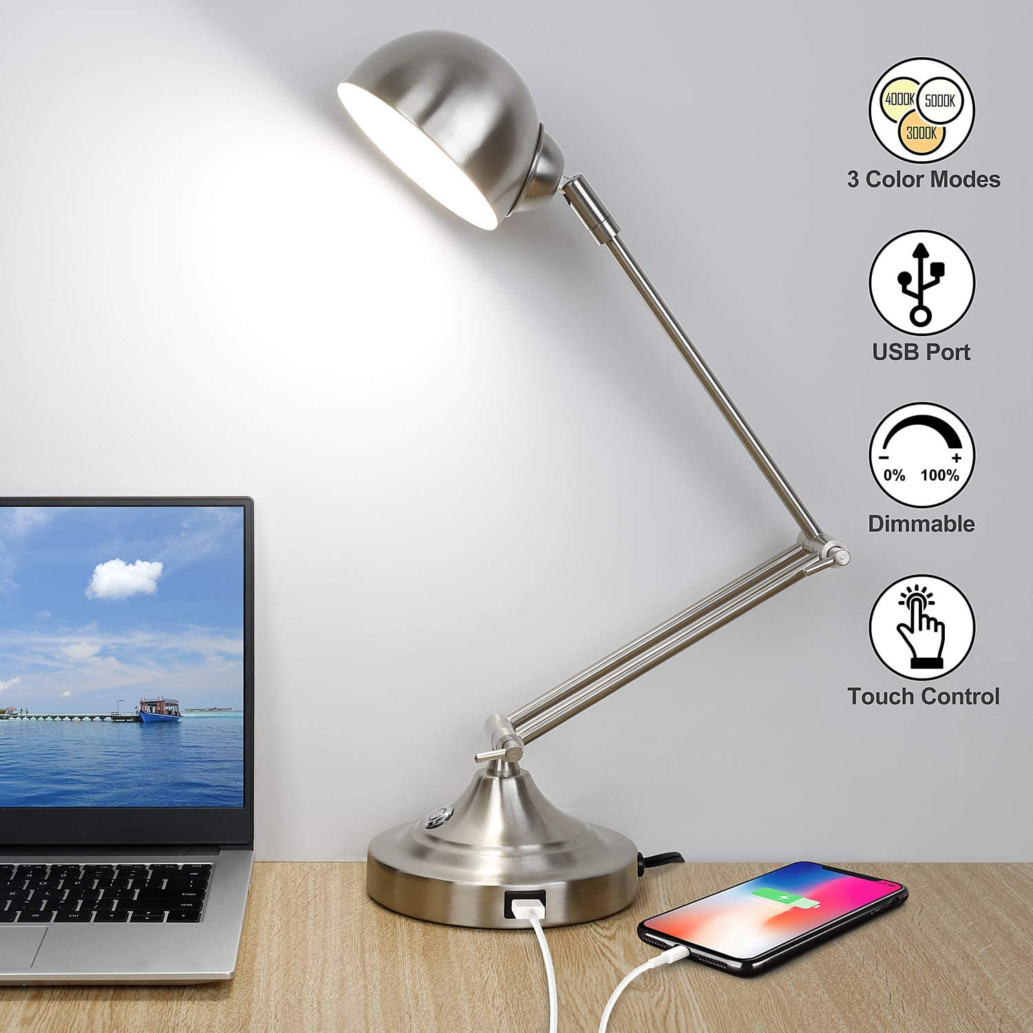 LED Desk Lamp with USB Charging Port, 3 Color Modes, Fully Dimmable, Swing Arm Task Lamp, Touch Control Nickel Metal Architect Drafting Table Lamp for Bedside, Office, Work, Reading -Eye-Caring
