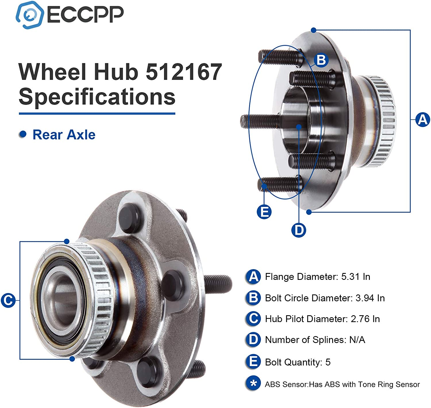 ECCPP Rear Wheel Bearing and Hub Assembly Compatible with C hrysler PT Cruiser Neon Plymouth Neon Dodge Neon SX 00-06 07 08 09 10 Wheel Hub 512167 5-Lug w//ABS