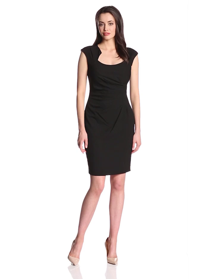 Calvin Klein Women's Cap-Sleeve Side-Ruched Sheath Dress at Amazon ...