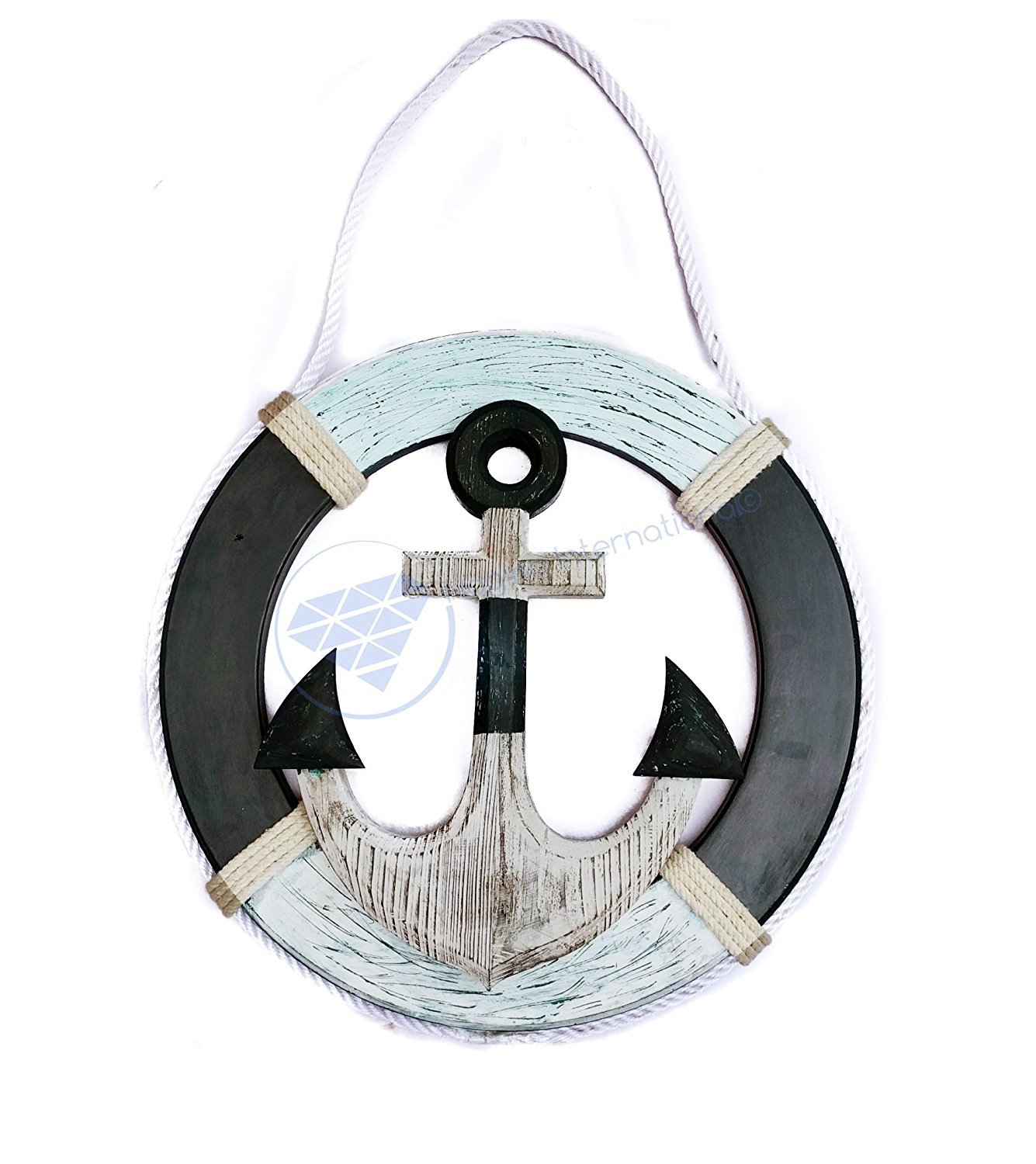 Nautical Antique Rustic Wooden Life Ring With Pine Wood & Ropes  Nautical Home Decor Gift   Nagina International (30 Inches)
