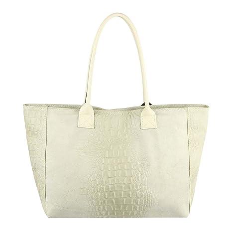 5f04381b387e9 Made in Italy Damen Leder Tasche DIN-A4 Kroko-Prägung Shopper Tote Bag  Henkeltasche