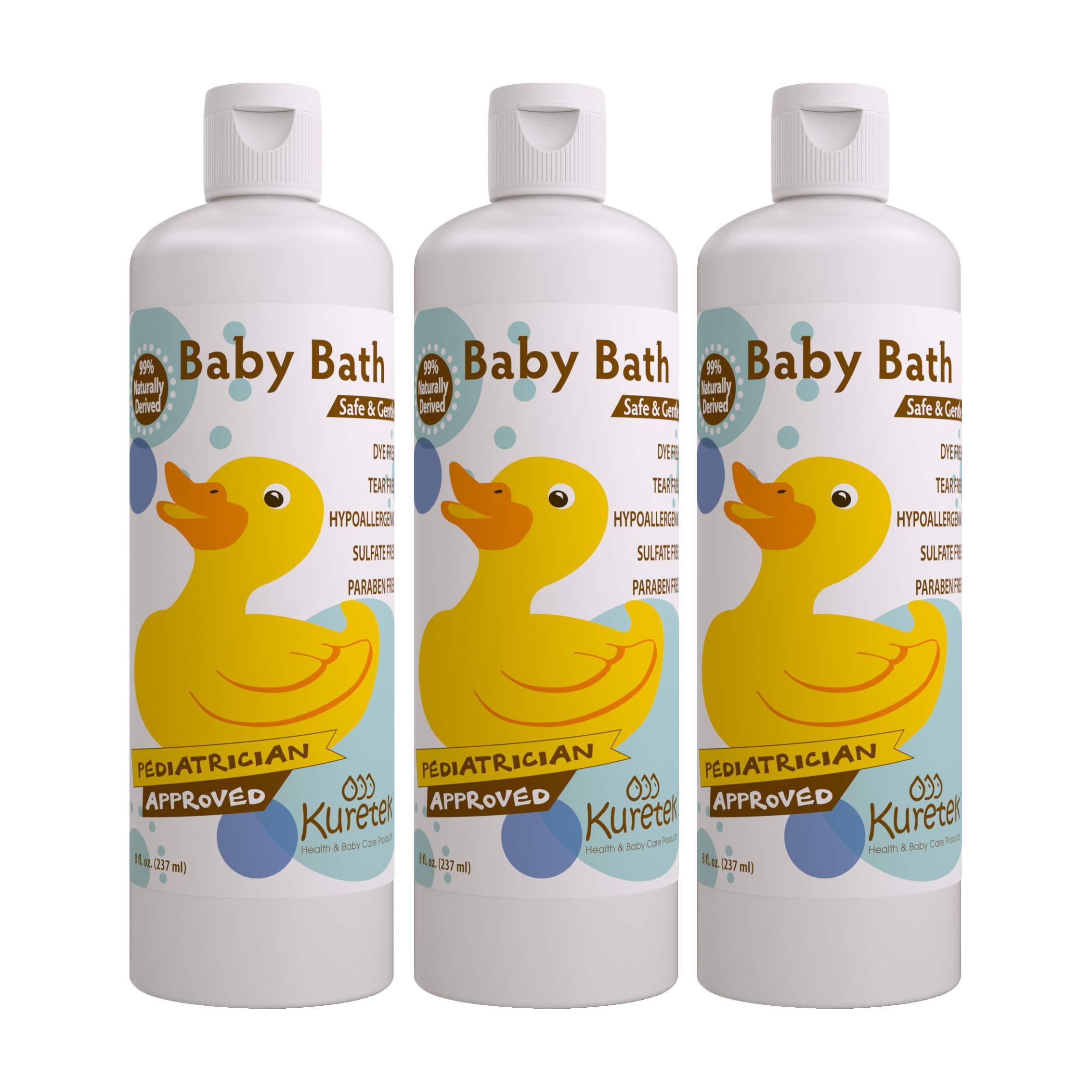 Kuretek Safe & Gentle Baby Bath, Pediatrician Approved, Hypoallergenic, Tear-Free, 8 ounces (3-pack) by Kuretek