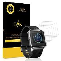 [6 Pack] Pellicola Fitbit Blaze, LK Wet Applied Pellicola Protettiva [Copertura completa] [Bubble-Free-Riutilizzabile] HD Clear film con garanzia di sostituzione a vita