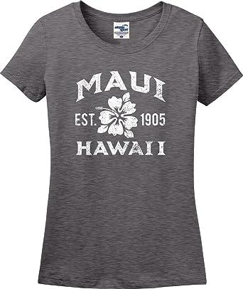 b6e9cd603bd Maui Hawaii Established 1905 Hibiscus Ladies T-Shirt (S-3X) (Ladies
